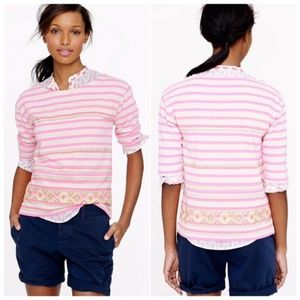 J. Crew Pink Striped tribal embroidery top small